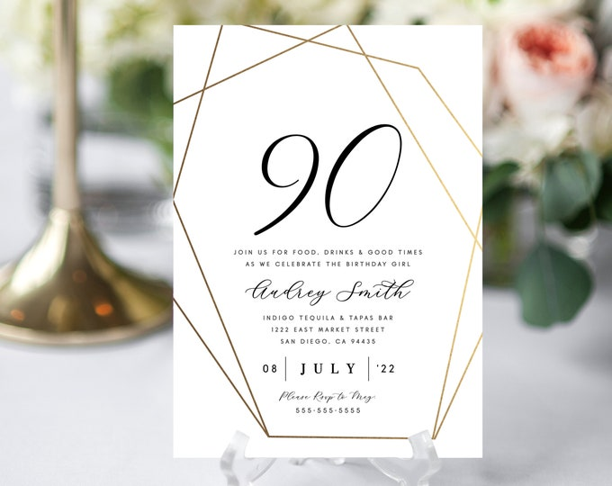 90th Birthday Party Invitation, INSTANT DOWNLOAD, Gold, Editable Text, Elegant Invite Modern Gold Birthday Party Invitations, 50th, Template