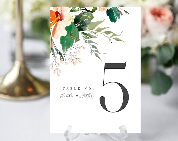 Table Number Card, INSTANT DOWNLOAD, Tropical, Beach Wedding, Tropical Flowers, Template, Editable, Printable Table Numbers, Watercolor, 007