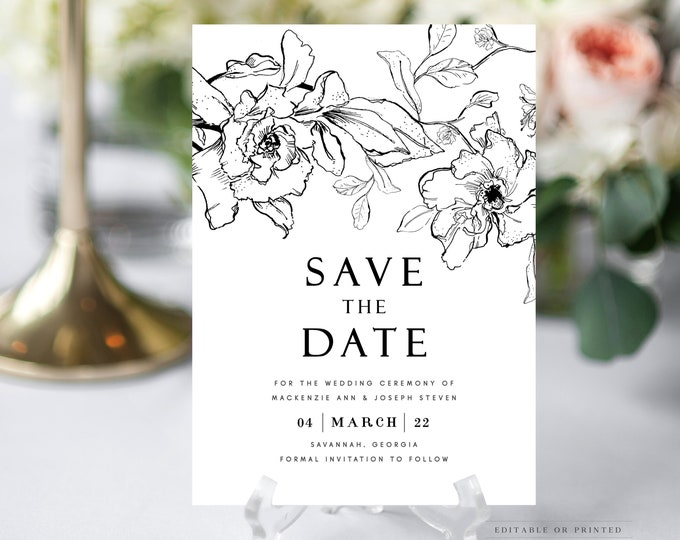 Save the Date Template, Black and White, Modern Save the Date, With Photo, Editable, Self Editing, Pen and Ink Drawing, Florals, Printed DIY