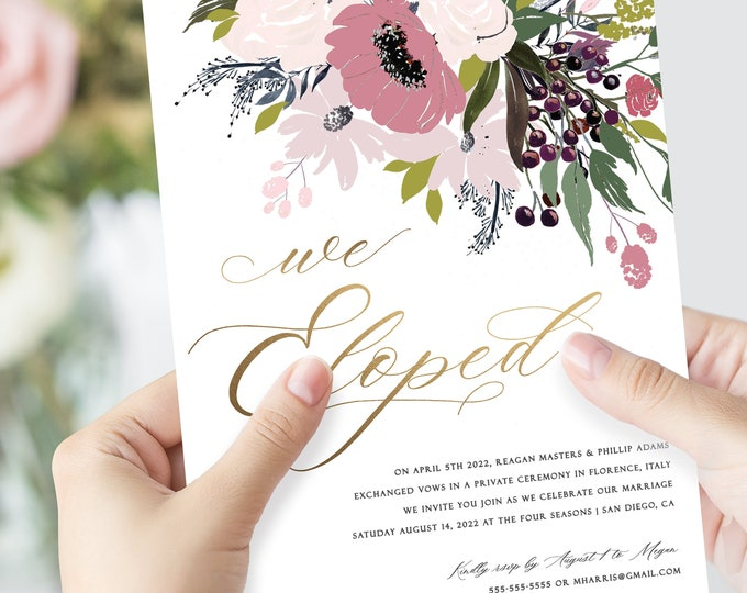 INSTANT DOWNLOAD Elopement Party Invitation, Blush, Gold, Gold Foil, Editable Text, Self Editing Invite, With Photo, Rustic Invitations, 614