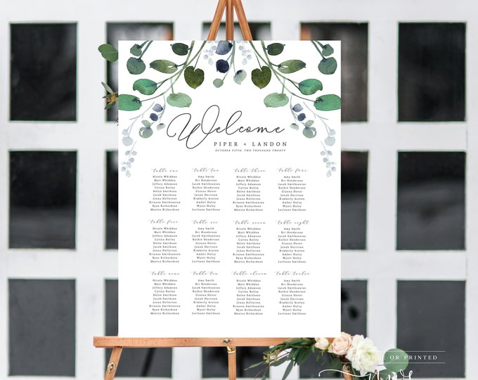Wedding Seating Chart, Editable, Instant Download, Wedding Seating Sign, Eucalyptus, Table Seating Chart, Printable, Greenery Rustic Diy 043