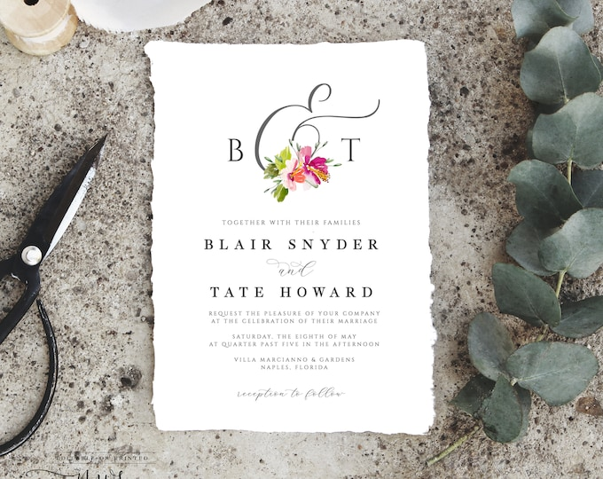 Tropical Wedding Invitation Suite, Instant Download, Beach Wedding, Modern Wedding Invite, Template, Downloadable, Self Editing, Hibiscus