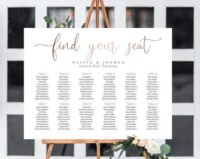 ROSE GOLD Seating Chart, Instant Download, Modern, Calligraphy, Wedding, Self Editing, Printable, Editable, Seating Chart Template Large 041