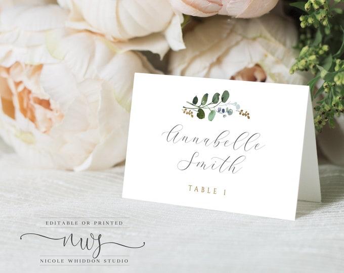 PRINTABLE Escort Cards, Place Cards, Template, Wedding Escort Cards, Editable Place Cards, Greenery and Gold, Winter Wedding Eucalyptus 043