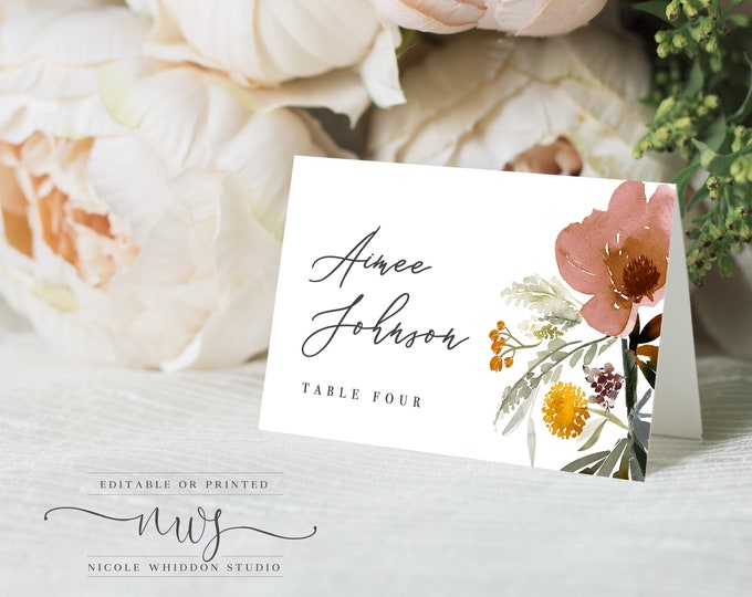 Printable Escort Cards, INSTANT DOWNLOAD, Placement Cards, Wedding Name Cards, Blush, Editable Place Cards, Elegant, Dusty Rose, Name Card