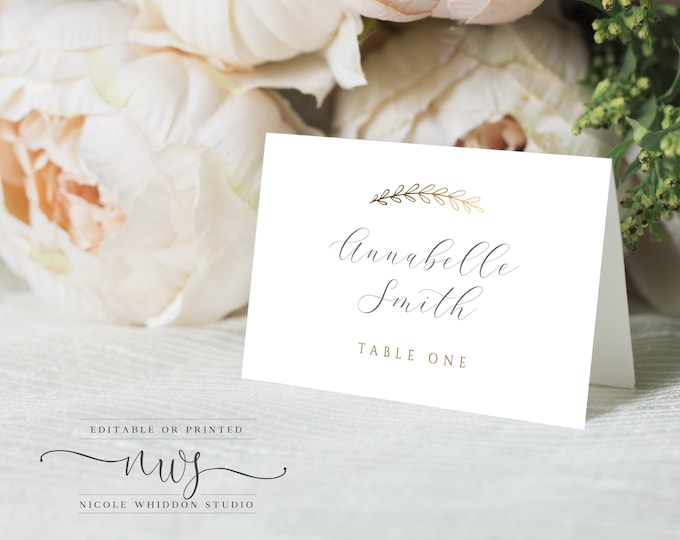 Instant Download Escort Cards, Gold Foil, Printable or Printed, Wedding Place Card Template, DIY Escort Cards, Gold, Editable Text, Modern