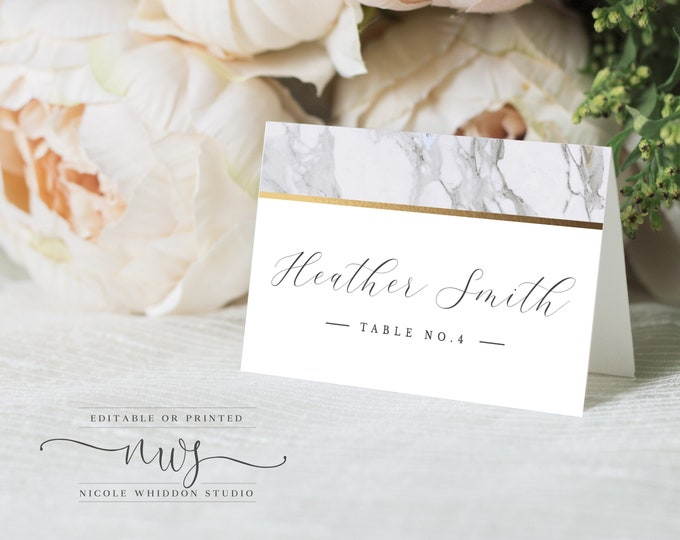 Instant Download Escort Card, Name Card, Tent Fold or Flat, Modern Wedding, Gray, Gold, Calligraphy, Marble, Printable Place Card, DIY, 002