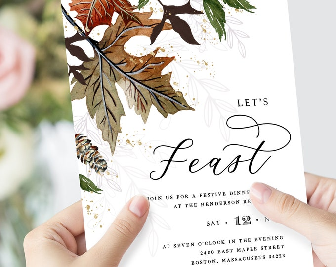Thanksgiving Dinner Invitations, Downloadable, Template, INSTANT DOWNLOAD, Fully Editable Text, Fall Leaves, Watercolor, Printable Invite