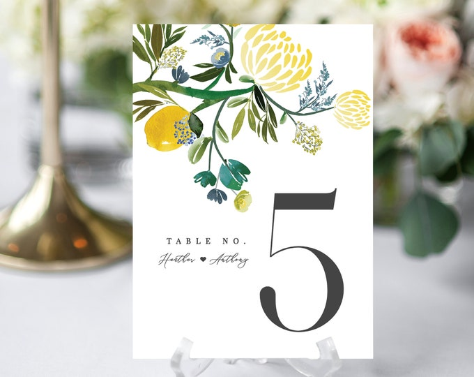 Wedding Table Numbers, Printable, Editable Template, INSTANT DOWNLOAD, Greenery, Yellow, Lemons, Citrus, Wedding Reception, Templett, Floral