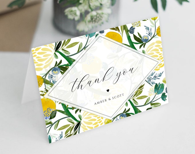 Printable Thank You Cards, INSTANT DOWNLOAD, Yellow, Citrus, Greenery, Wedding Thank You Cards, Baby Shower Thank You Card, Floral, Editable