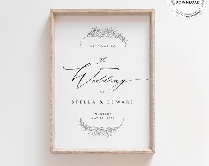 Minimalist Welcome Sign Template, Rustic Modern Calligraphy, Editable Text, Printable Large Wedding Sign, Instant Download, Black and White