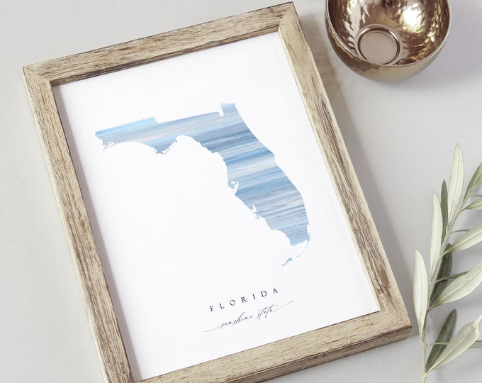 Florida State Watercolor Print, Instant Download, 8x10 Sunshine State, Home State Gift, Download, Digital Wall Decor, Ocean, Coastal Art