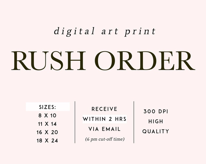 RUSH MY ORDER, Digital Art Print, Printable Artwork, Emailed To Customer, 2 hours or Less, Rush Delivery, Digital File