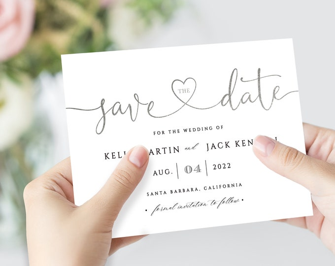Save the Date Cards, Minimalist, Silver, Editable Text, Photo Card, Modern Save the Date Card, Printable, Templett, Digital Download, PDF