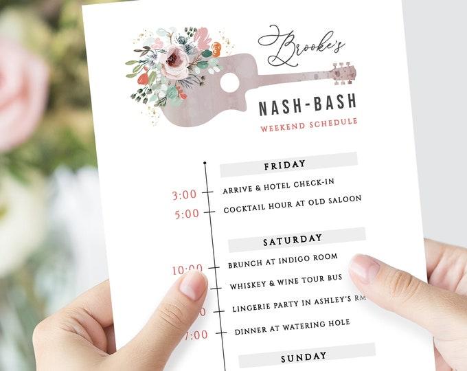 Nashville Bachelorette Party Invitation, Nash-Bash Invite, Bachelorette Itinerary, Instant Download, Editable Schedule, Tennessee, Template
