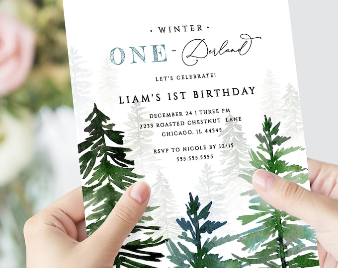 Winter Onederland birthday invitation, INSTANT DOWNLOAD, First birthday, Christmas birthday party, Winter invitation, One-derland invite 127