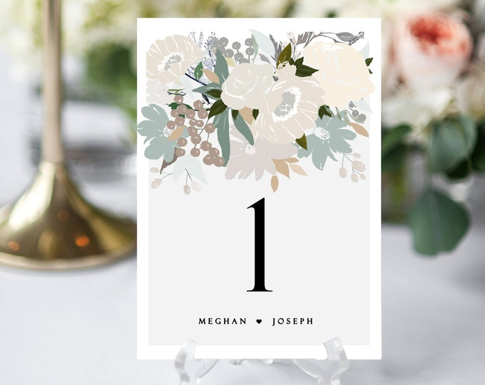 Table Numbers Wedding, INSTANT DOWNLOAD, Table Number Cards, Printable, Table Numbers, Floral, Neutral, Wedding Decor, Table Decor, 142