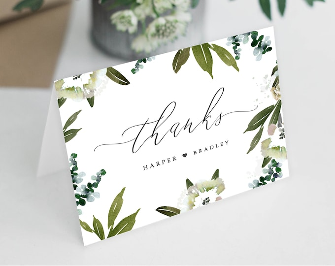Thank You Card, INSTANT DOWNLOAD, Wedding Thank You, Wedding Card, Thank You Template, Thank You Notes, Wedding Template Greenery, Rustic 49