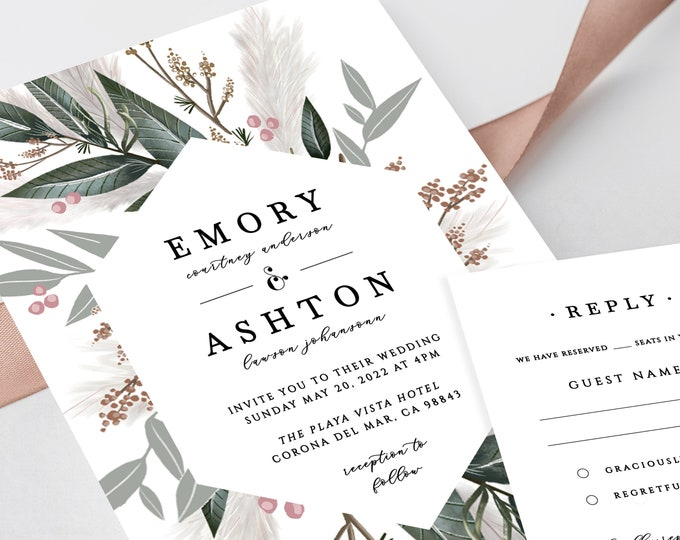 Wedding Invitation Template Download, Greenery, Sage, Pampas Grass, INSTANT DOWNLOAD, Wedding Invitation Suite, Editable Text, Printable 310
