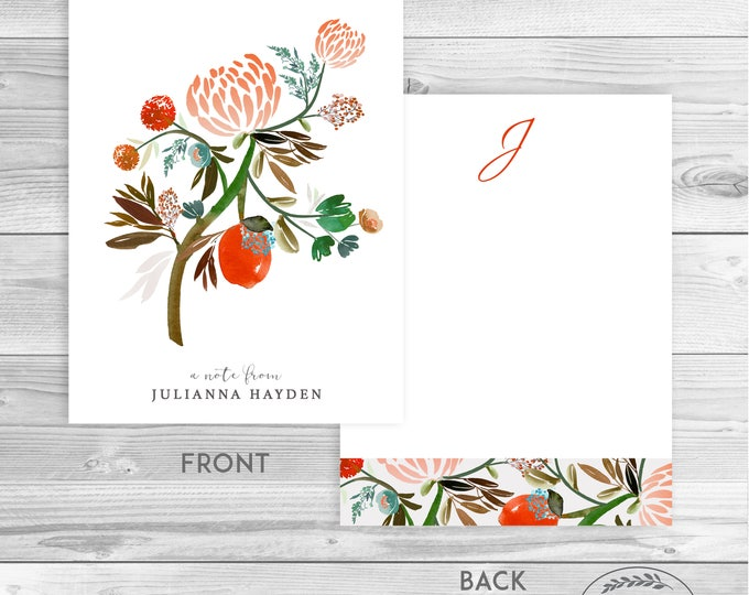 BOTANICAL MONOGRAM STATIONERY Blank Notecards Gift Idea Personalized Stationery Set of Watercolor Notecards Thank You Cards Red Green Floral