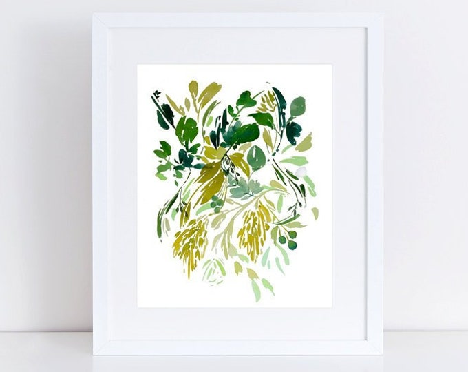 GREENERY ABSTRACT WATERCOLOR Art, Organic Art, Nature Art Print, Contemporary Green Artwork, Printable, Downloadable, Living Room Wall Art