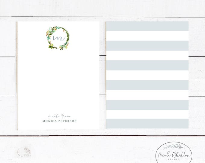 PERSONALIZED BLANK NOTECARDS, Monogram Notecards, Gift for Friend, Office Stationery, Feminine Stationery, Gift Idea, Blank Notecard Set