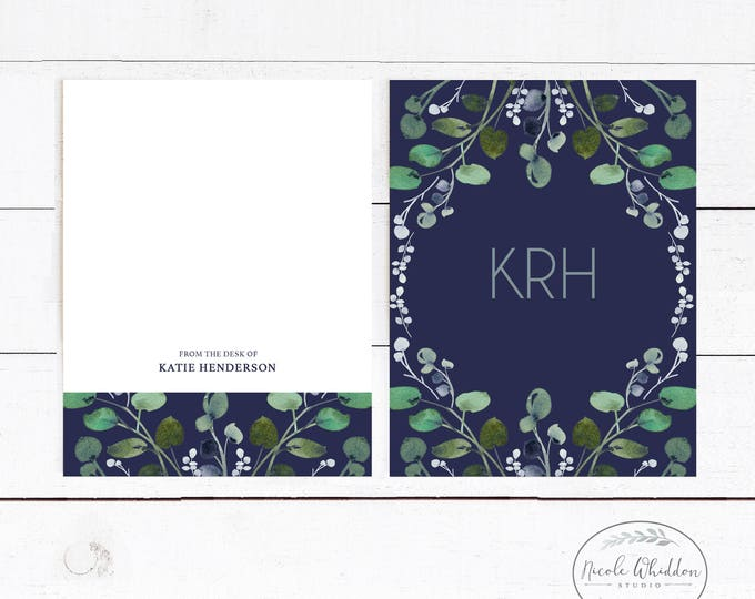 PERSONALIZED EUCALYPTUS NOTECARDS, Monogram Notecards, Gift for Friend, Professional Stationery, Navy Stationery, Gift Idea, Blank Notecards