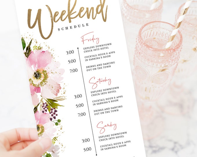 Bachelorette Weekend Itinerary, Editable, Template, Wedding Order of Events, Schedule, Self Editing, Templett, Pink, Watercolor, Gold, 138