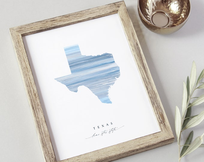 Texas State Watercolor Print, Instant Download, 8x10 Lone Star State, Home State Gift, Pale Blue, Digital Wall Decor, Abstract Texas Artwork
