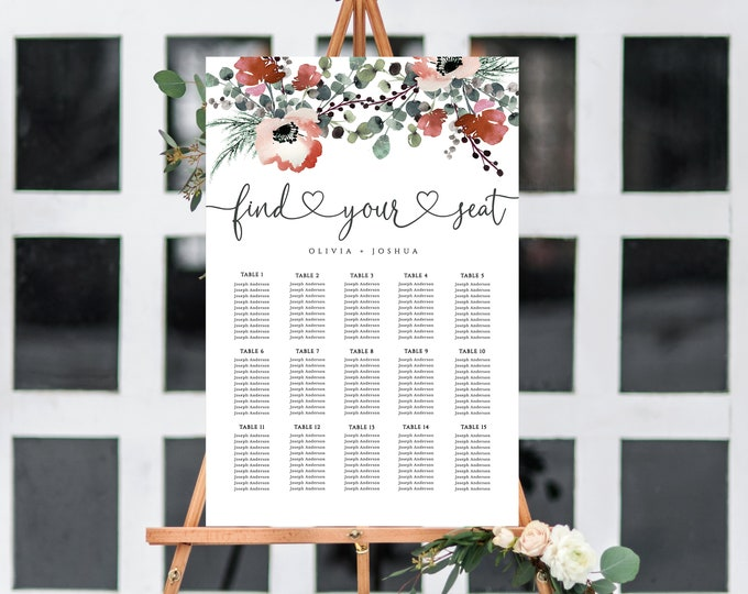 Seating Chart, EDITABLE, Wedding, Burgundy, Poster Sign, Seating Sign, Welcome Sign, Wedding, Downloadable, Greenery, Marsala, Template, DIY
