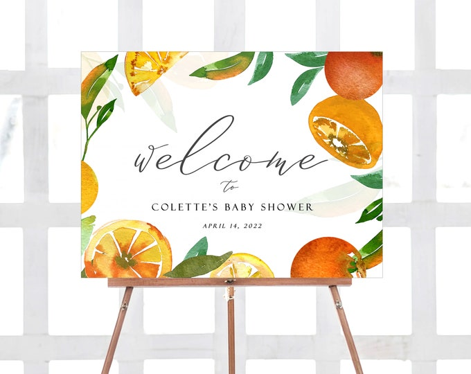 Citrus Welcome Sign, Baby Shower, Little Cutie, Bridal Shower, Tropical, Lemons, Mimosa, Mandarin, Luau, Printable Large Sign, Editable, 216