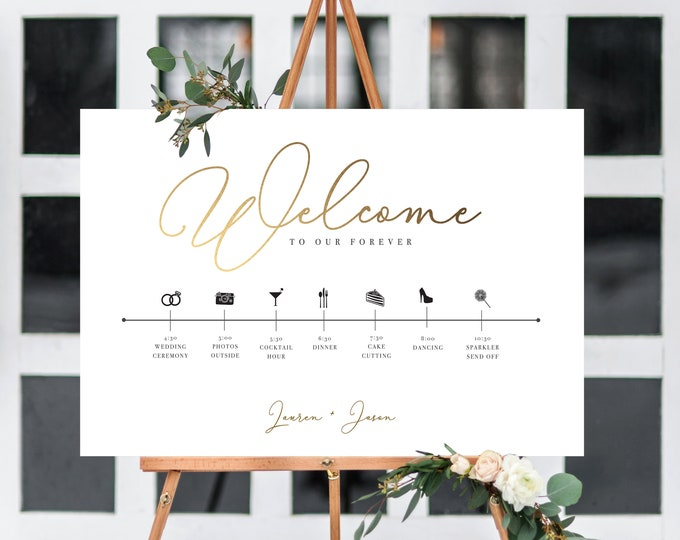Wedding Welcome Sign, Order of Events, Editable, Gold, Timeline, Large Sign, Editable Template, Day of Timeline, Printable Sign, Download