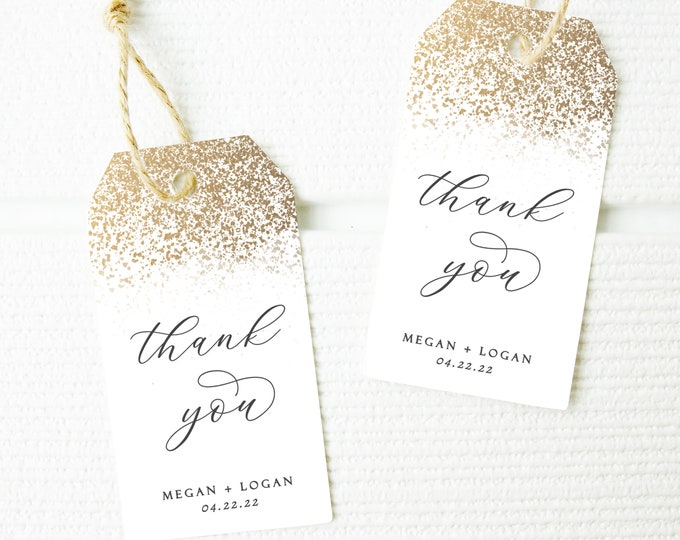 Gold Favor Tags, Gift Tags, Printable, Gold Glitter, Modern, INSTANT DOWNLOAD, Gift Tag Template, Wedding Favor Tags, Editable, Templett