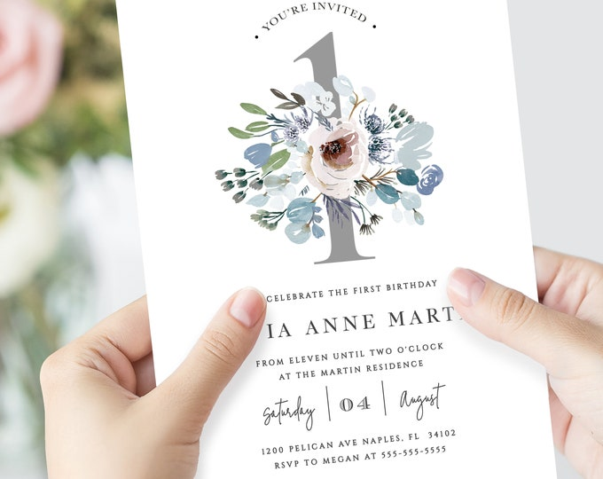 Baby Girl 1st Birthday Party Invitations, INSTANT DOWNLOAD, Self-Editing, Dusty Blue, Florals, Greenery, Gray, Template, Watercolor, Cute