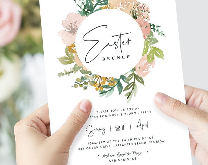 Easter Brunch Invitation, PRINTED, Easter Egg Hunt Party, Printed Easter Invitations, Easter Brunch Invite, Watercolor, Watercolor, Blush