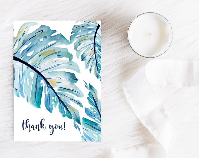 TROPICAL THANK YOU Cards, Monstera Greeting Cards, Banana Leaf Thank You Cards, Christmas Gift Idea, Nautical Thank You Cards, Gift for Her
