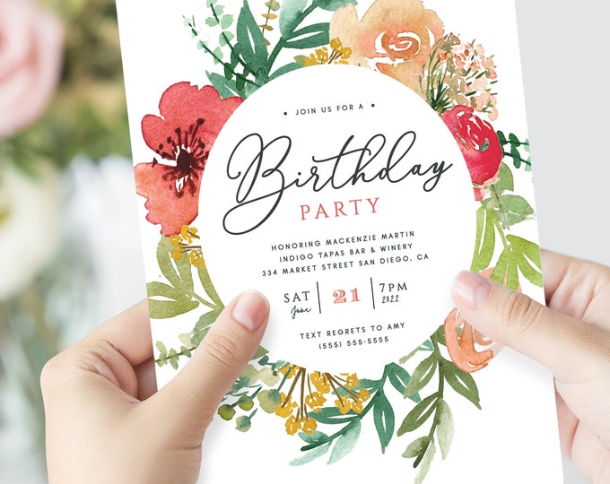 Printable Birthday Party Invitation, Self Editing, INSTANT DOWNLOAD, Blush, Florals, Girl Birthday Party Invite Editable, Elegant, Any Age