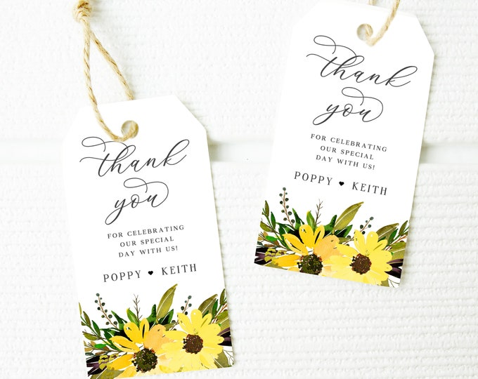 Bridal Shower Favor Tags, Wedding Favor Tags, Printable, Rustic, Sunflower, Sunflowers, Fall, Editable Favor Tag, Greenery, Gift Tag, 042