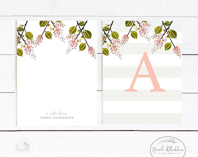 PEACH AND MINT Personalized Stationery, Pale Pink Personalized Notecards, Stationery for Her, Monogram Stationery Gift, Watercolor Flowers