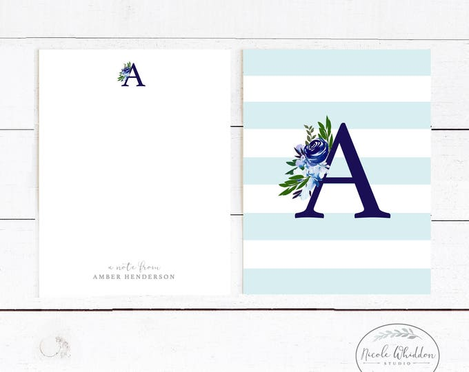 NAVY AND AQUA Monogram Notecards, Nautical Personalized Notecards, Nautical Stationery, Stationery Gift, Watercolor, Gift Idea, Hand painted