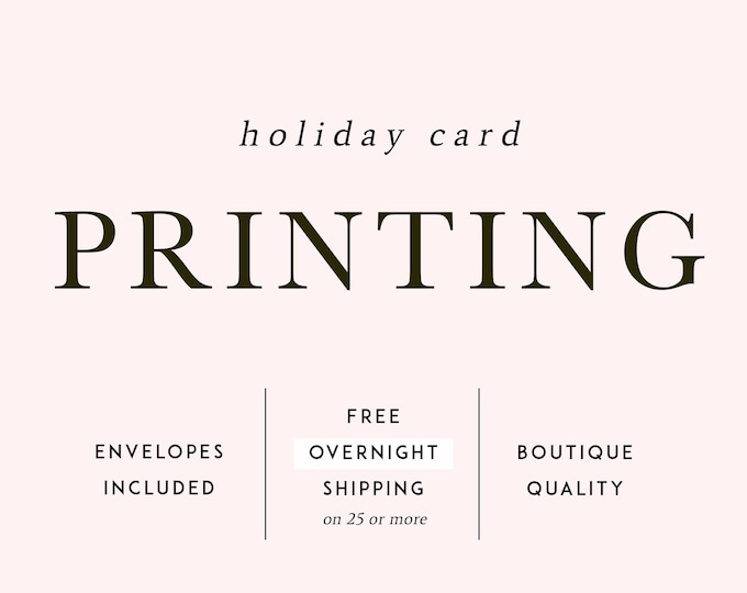 """PRINTING SERVICES, Christmas Cards, A2 Notecards, 5.5""""x4.25"""" Flat or Folded, With Envelopes, Overnight Shipping, Holiday Card Printing"""