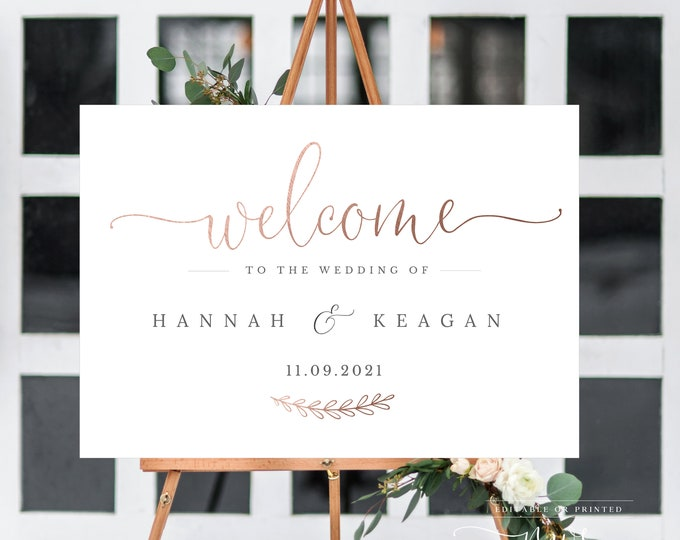 Rose Gold Welcome Sign, Instant Download, Editable Text, Calligraphy, Wedding Ceremony, Rehearsal Dinner, Printable Printed UK AUS Sizes 041