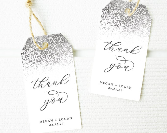 Wedding Favor Tags, Silver, Gift Tags, Printable Favors, Silver Glitter, Modern, INSTANT DOWNLOAD, Template, Party Favor Tags, Customizable