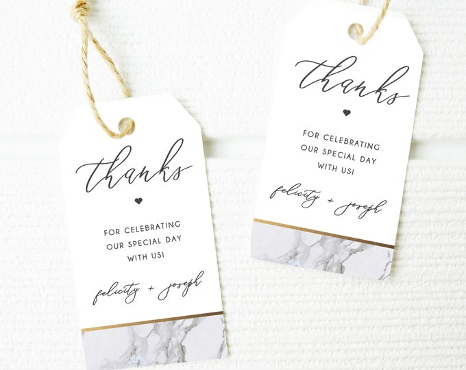 Wedding Favor Tags, INSTANT DOWNLOAD, Printable Gift Tags, Wedding Favors, Marble, Modern, Gold, Template, Gray Gold, Bridal Shower Editable