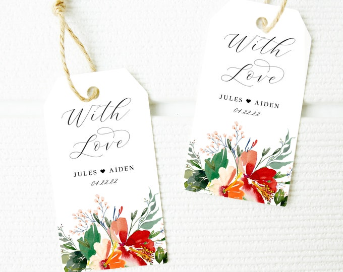 Favor Tags, Bridal Shower, Gift Tag Template, Editable, Tropical, Flower, Beach, Shower, INSTANT DOWNLOAD, Wedding, Name Tag, Printable, 007