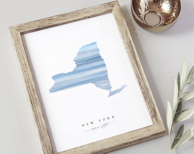 New York State Art Print Download, 8x10 Empire State, Instant Download, Housewarming Gift, Self-Print, Modern New Yorker State Print, Blue