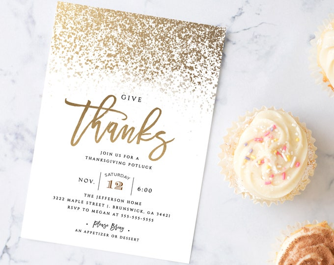 INSTANT DOWNLOAD Thanksgiving Party Invitations, Fall, Gold, Modern, Potluck Party, Company Holiday Party, Printable, Dinner Party Template