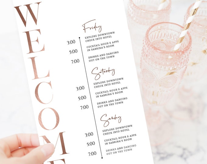 Rose Gold Bachelorette Party Schedule, Editable Template, Rose Gold Foil, Bachelorette Party Invite, Minimalist, INSTANT DOWNLOAD, Itinerary
