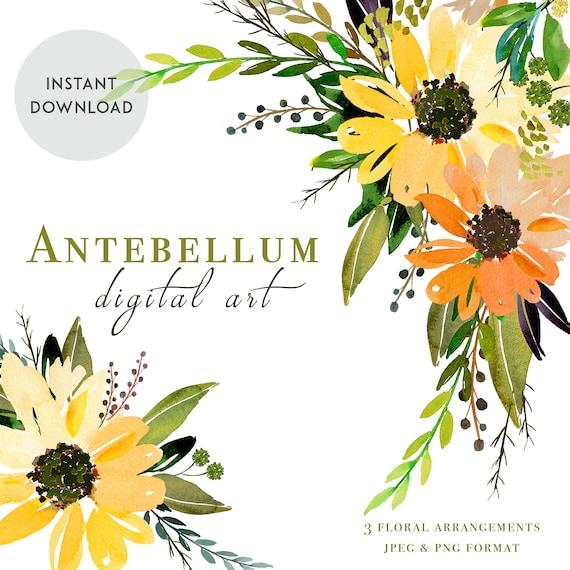SUNFLOWER CLIPART Floral Clipart Wedding invitation DIY | Etsy