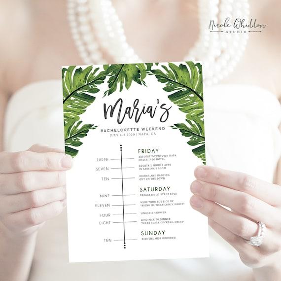 EDITABLE TROPICAL THEME Bachelorette Schedule Palm Leaves